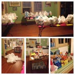 This is what those groceries looked like.  Carried up a flight of stairs in the rain!